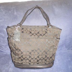 COACH Black & Dark Brown Signature  LARGE Bag